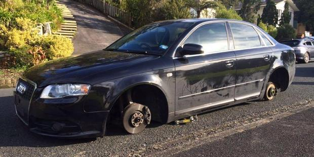 The abandoned car which was stolen from a gym in Henderson. Photo / Supplied