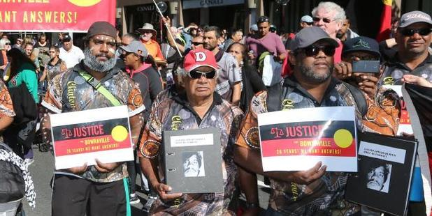 Families and the community of Bowraville protest outside NSW Parliament about the lack of action over the murders of three Aboriginal children from the country town 26 years ago. Photo / Bob Barker