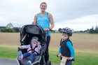 NZ Bitfit mums creator, Leah Swailes with her two children, Connor, 3 and Kyla, 18 months. Photo / Michael Craig