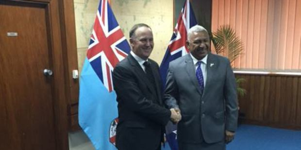 Prime Minister John Key in Fiji with Fijian Prime Minister Frank Bainimarama. Photo / Facebook