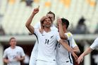 New Zealand's Rory Fallon celebrates scoring New Zealand's 2nd goal against Fiji. Photo Shane Wenzlick / www.phototek.nz