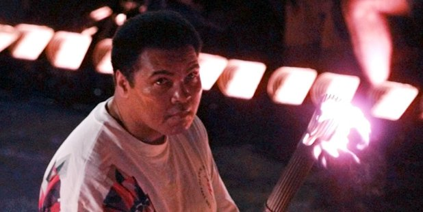 Muhammad Ali watches as the flame climbs up to the Olympic torch during the opening ceremonies of the Summer Olympics, in Atlanta. Photo / AP