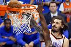 Oklahoma City Thunder center Steven Adams (12) dunks over Golden State Warriors forward Draymond Green (23). Photo / AP