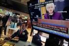 Federal Reserve Chair Janet Yellen's speech in Philadelphia is broadcast on the floor of the New York Stock Exchange. Photo / AP