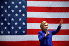 Democratic presidential candidate Hillary Clinton speaks at a rally. Photo / AP