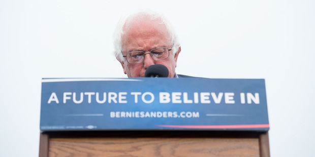 Bernie Sanders addresses supporters at a really in California as news outlets announced that Hillary Clinton had clinched the Democratic presidential nomination Photo / AP