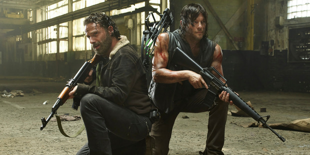 Andrew Lincoln as Rick Grimes and Norman Reedus as Daryl Dixon in The Walking Dead. Photo / AMC
