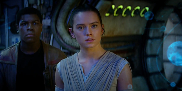 Loading Actress Daisy Ridley stars as Rey in the movie, Star Wars: The Force Awakens.