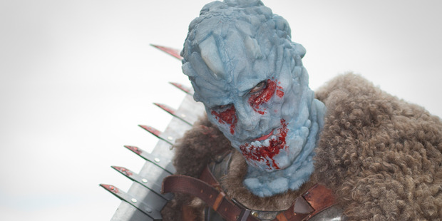 Shanon Richards dressed as an Ice Giant from a previous Armageddon. Photo / Greg Bowker