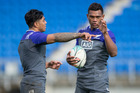 New Zealand All Blacks backs Malakai Fekitoa with new cap Seta Tamanivalu. Photo / Brett Phibbs