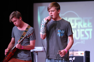 Thomas Cummings, Ben Vautier, performing with Hectic Groove, a band from Havelock North High School. Photo / Duncan Brown