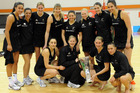 The successful New Zealand team over Jamaica in the International Netball test. Photo / NZPA