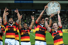 Waikato celebrate with the Ranfurly Shield following the round nine ITM Cup match between Hawke's Bay and Waikato on October 9, 2015 in Napier, New Zealand. Photo / Getty Images