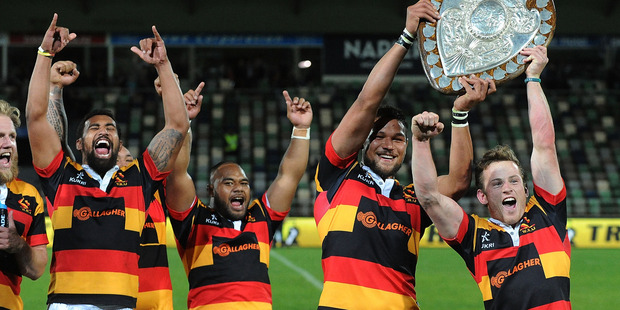 Waikato celebrating with the Ranfurly Shield during last year's ITM Cup. Photo / Getty Images