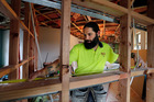 Mark Andrews, a second-year building apprentice, is one of many in the industry who are benefiting from Northland's building boom. Photo / John Stone