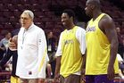 Phil Jackson (L) and Kobe Bryant (C) with a fully clothed Shaquille O'Neal (R) at Lakers practice. Photo / Getty