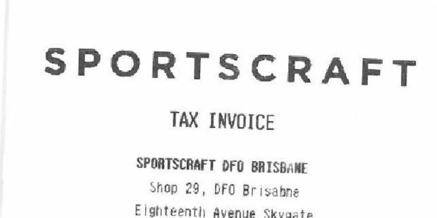 This receipt got Sportscraft into trouble. Photo / Supplied