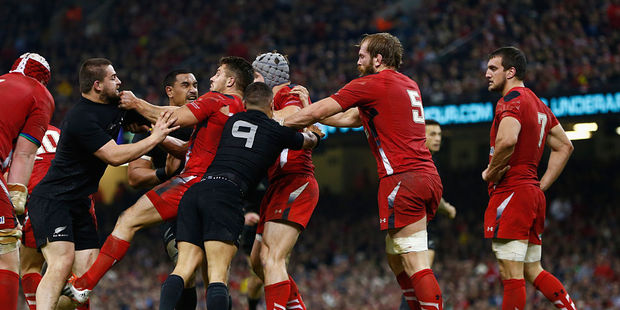 Loading A scuffle breaks out during between Wales and the All Blacks at the Millennium Stadium in November 2014. Photo / Getty Images