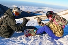Lisa Farrell and Joe McGuire from Waikato admire the view at Mt Hutt. Photo / Supplied