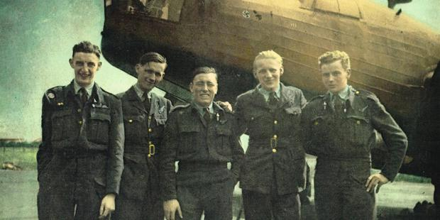 Basil Williams, far right, survived two plane crashes, a bayonet wound and near starvation on a death march in World War II. Photo / Supplied