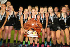 Black Sticks holding aloft the International Hockey Open trophy in Darwin, Australia. Photo / Tim Nicol