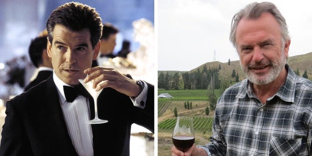 A toast, to Pierce Brosnan and Sam Neill crossing paths in Hollywood.