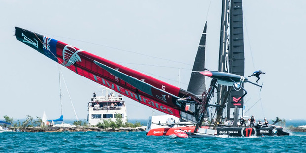Loading Team New Zealand experienced a rough day on the water in Chicago today after their boat capsized during a practice match with Oracle Team USA. Photo / Twitter.