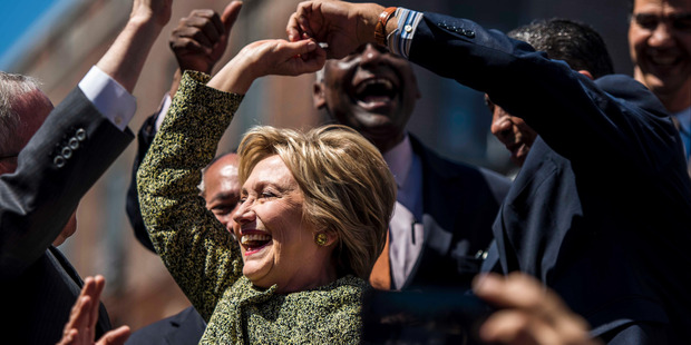 Loading Hillary Clinton in New York City's Washington Heights neighbourhood two days before the New York primary in April. Photo / Washington Post