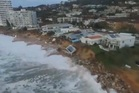 Drone footage shows the damage to beachfront properties. Photo / Supplied