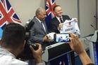 Prime Minister John Key and Fiji Prime Minister Frank Bainimarama. Photo / Claire Trevett