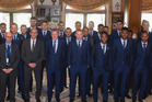 The England football team managed to sneak their new mascot into a group photo, can you spot it? Photo / Twitter