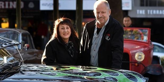 Lavina and Danny Bisschop, friends of the man who died in a car crash on Friday, with their 1952 Ford twin spinner in the Octagon yesterday. Photo / Peter McIntosh