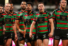 Rabbitohs players watch a replay of a Titans try during the round 13 NRL match between the South Sydney Rabbitohs and the Gold Coast Titans. Photo / Getty Images