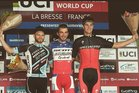 Sam Gaze (far right) on the podium after finishing third in the men's under 23 section of the UCI Mountain Biking World Cup in France last month. Photo / Twitter