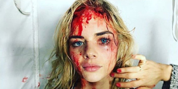 Loading Samara Weaving in make-up for Ash vs Evil Dead. Photo / Instagram