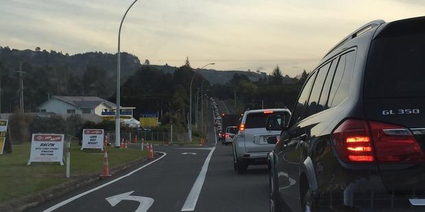 Traffic at a standstill on State Highway 2 after head-on crash scene. Photo/George Novak.