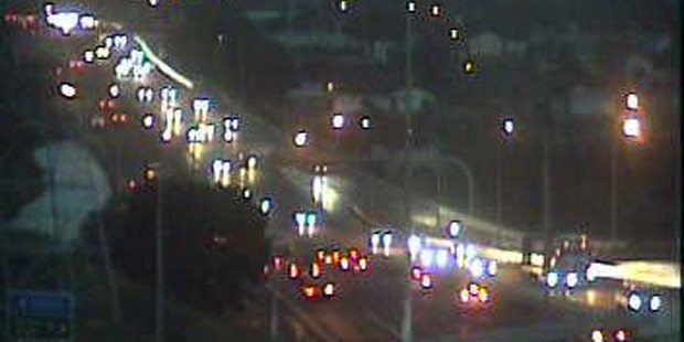 Traffic this morning on Auckland's Northwestern Motorway near Lincoln Rd. Photo / NZTA