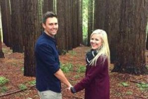 Gert Smith and Trent Boult in Melborune at a redwood forest where he popped the big question. Photo/Instagram