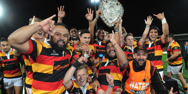 Waikato celebrate with the Ranfurly Shield following their win over Hawke's Bay. Photo / Getty