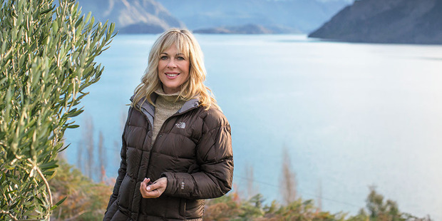 Annabel Langbein outside her lakeside home in Wanaka. Photo / Aliscia Young