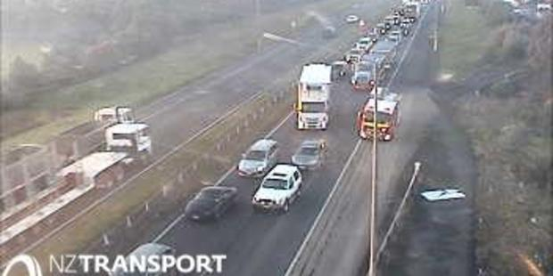 Traffic is backed up on the Southern Motorway after a motorcyclist was killed in a crash. Photo / NZ Transport Authority
