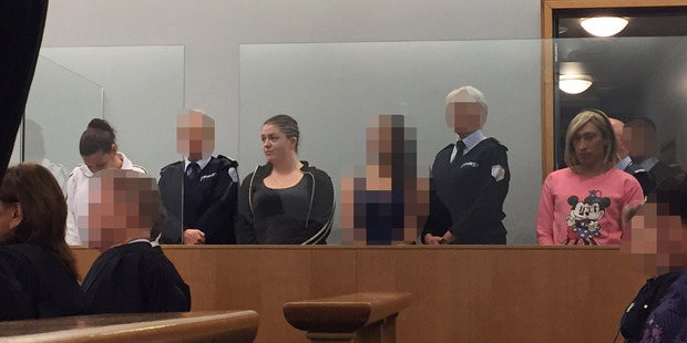Julie-Ann Torrance, Nicola Jones and Cameron Hakeke appear in the Auckland High Court on charges relating to a serious injured woman found dumped on the roadside in the Dome Valley. Photo / Rob Kidd