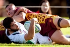Old Boys' Marist centre Bram Egli goes over for their first try against Hora Hora. Photo / John Stone