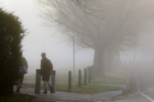 MISTY: School students make their way to school as fog blankets Parkvale in Hastings yesterday morning. PHOTO/PAUL TAYLOR