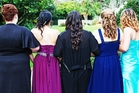 Five Hawera High School girls as they left for the school ball. PHOTO/ROSS GLOVER