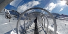 The new tunnel along the learners' slope magic carpet at Cardrona Alpine Resort on opening day. Photo / Otago Daily Times