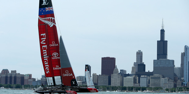 Heading into the weekend Emirates Team New Zealand held an eight-point lead over Oracle Team USA. Photo / Getty Images