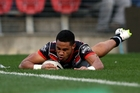 David Fusitua scores against the Knights in Newcastle yesterday. Photo / Photosport