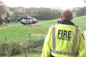 A man who severed his finger on Saturday was airlifted from a remote farm - an event first-responders of the Ashley Clinton Rural Fire Brigade had been training for earlier that day.