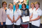The Central Hawke's Bay Health Centre's district nursing service was highly commended in the teamwork section of the recent International Nurses and Midwives Day Awards. From left, Sonya Smith (HBDHB nurse director), Marilyn Duncan, Sally Mackie, Sandy Ridley (CHB Health Centre manager), Megan Peacock and Lynne Goddard. Rose Wilder and Karoline Clarke were absent.